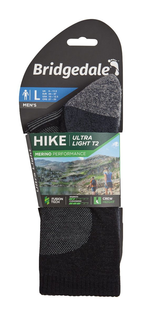 BRIDGEDALE Hike UL T2 MP Crew M Black