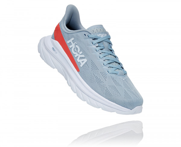 HOKA MACH 4 BLUE FOG / HOT CORAL